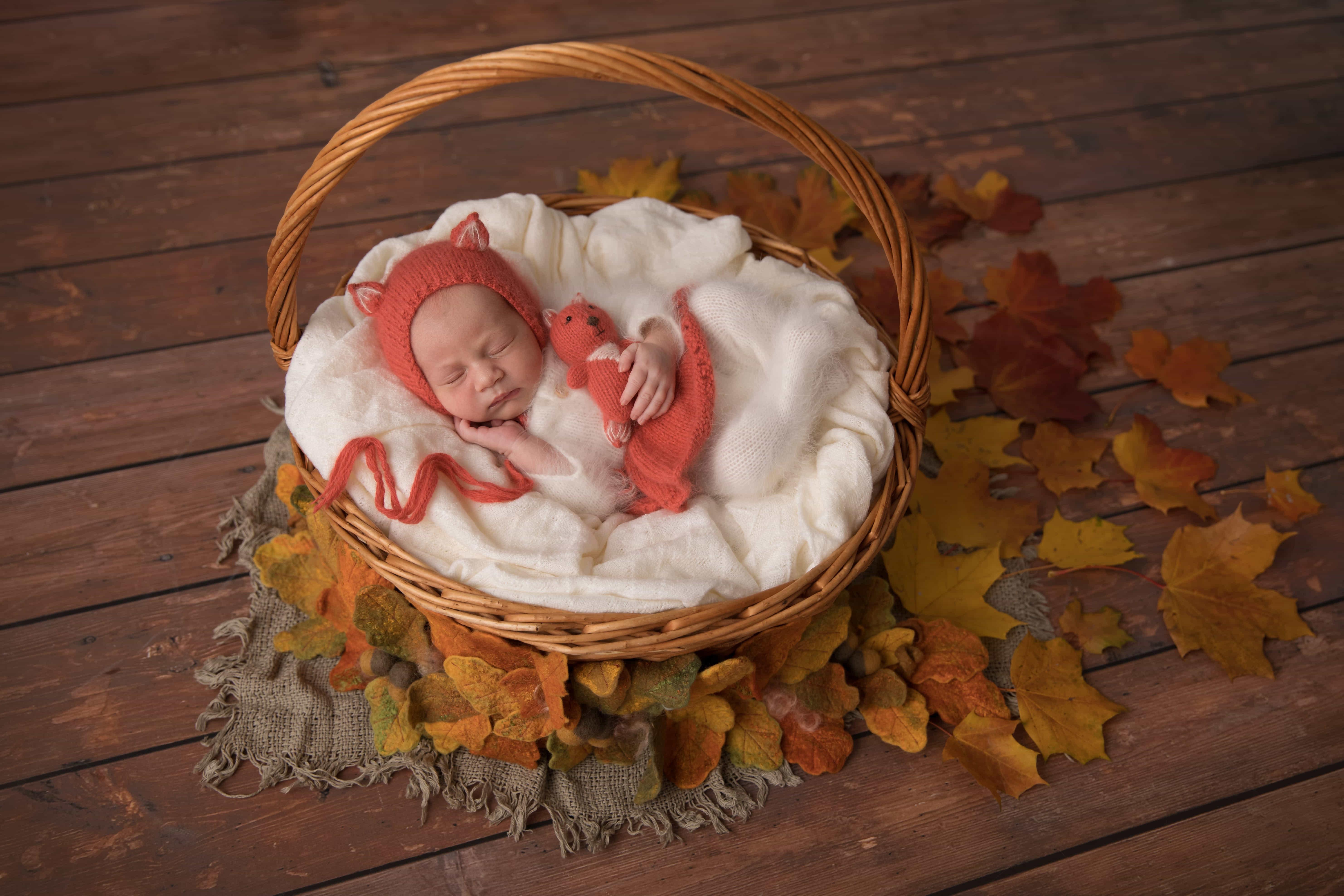 фотография новорожденного осенью