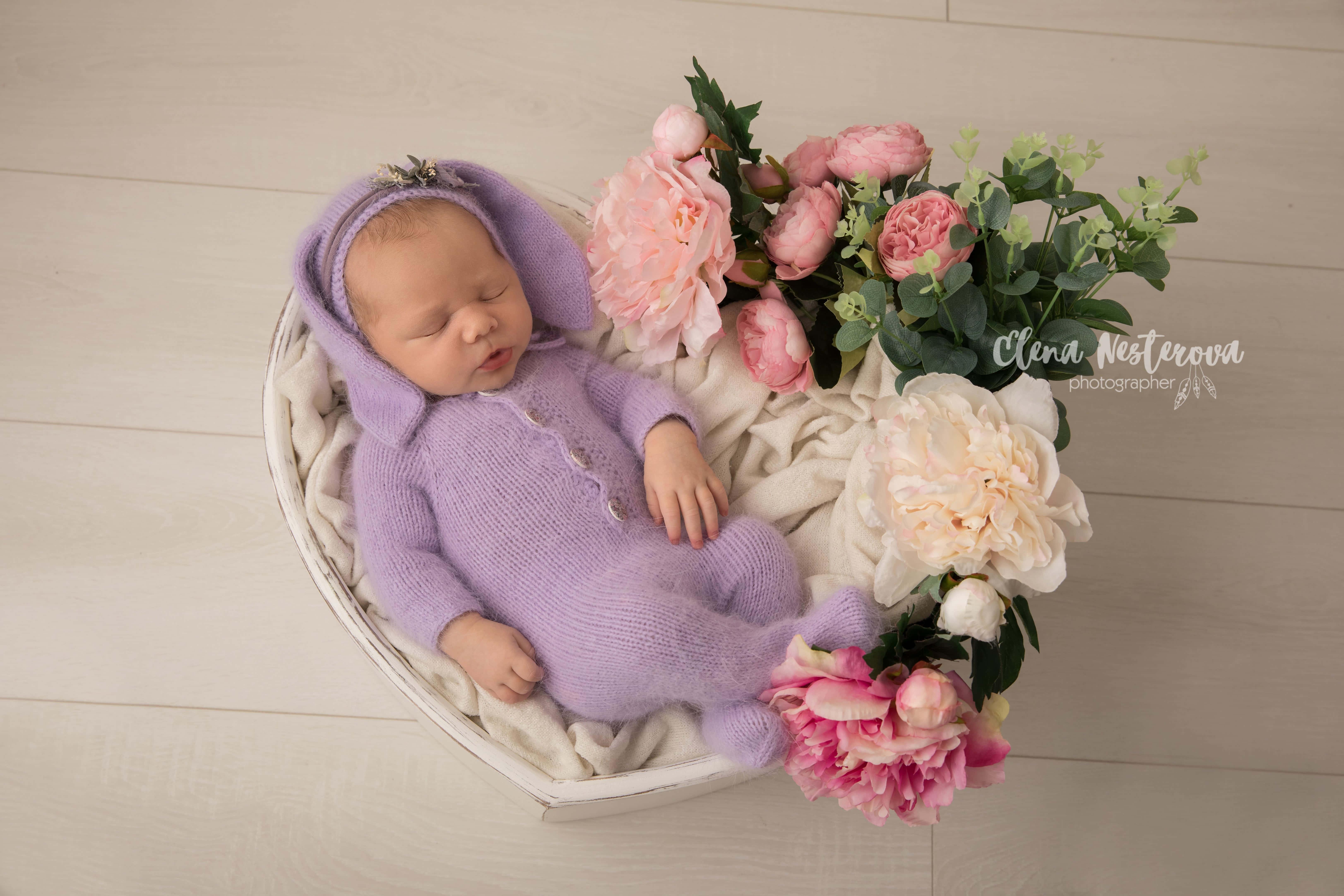 фотосессия новорожденного весной