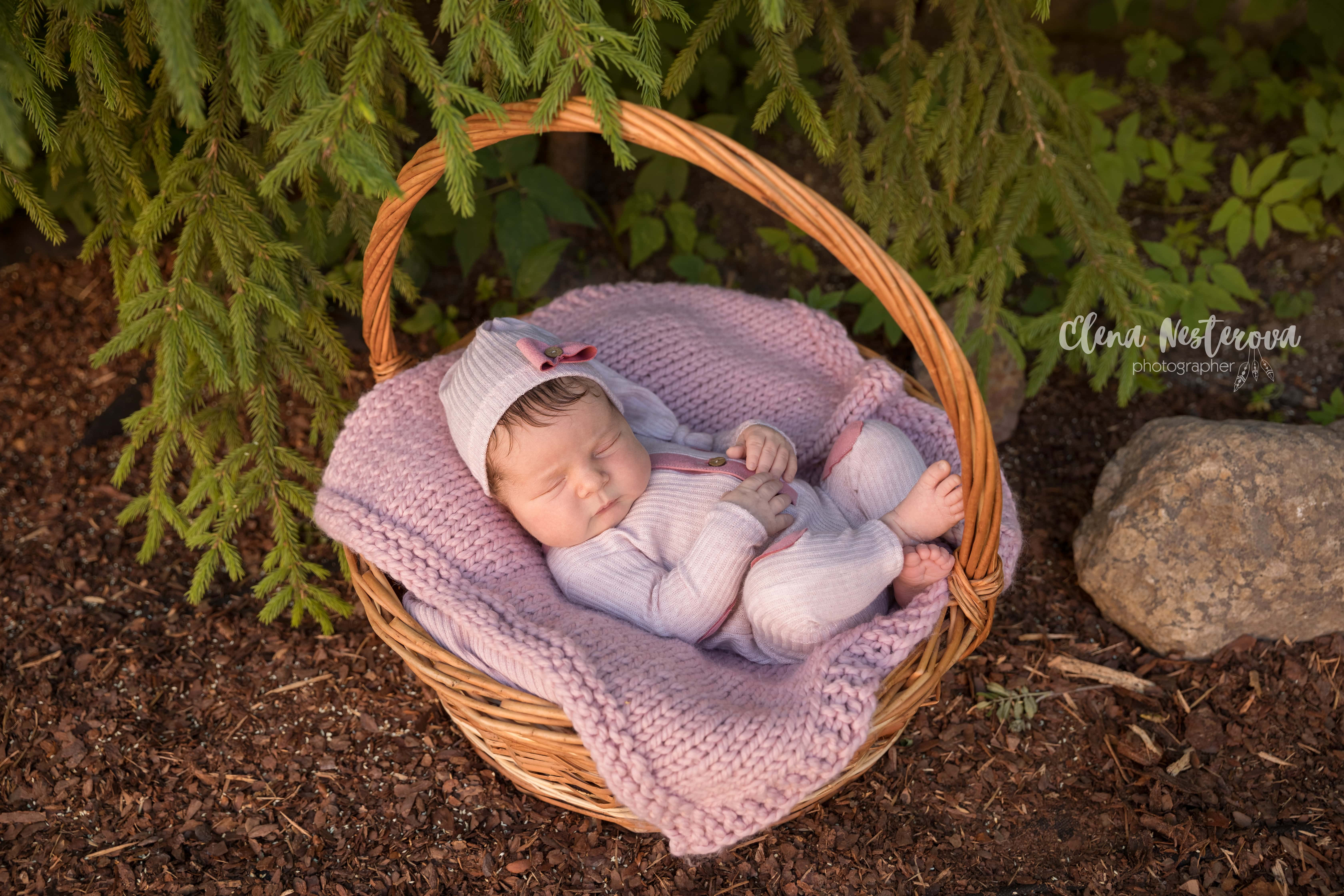фотосессия новорожденного на природе