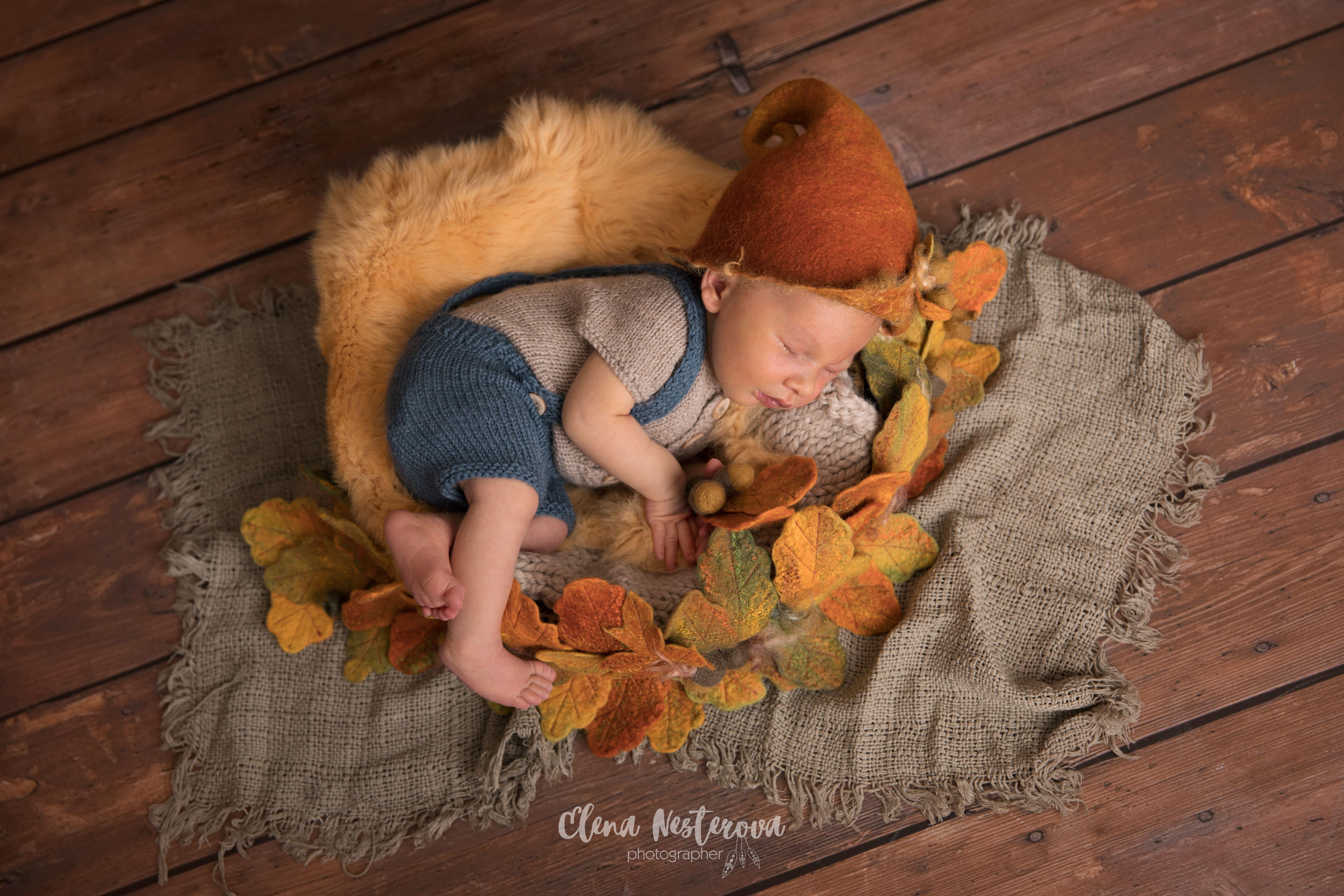 фотосессия младенцев осенью