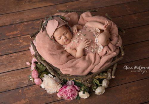 профессиональная фотосессия новорожденной девочки